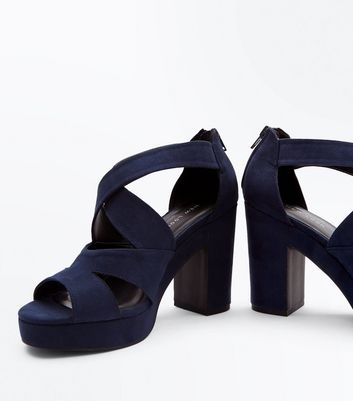 Navy Suedette Strappy Platform Block Heels New Look