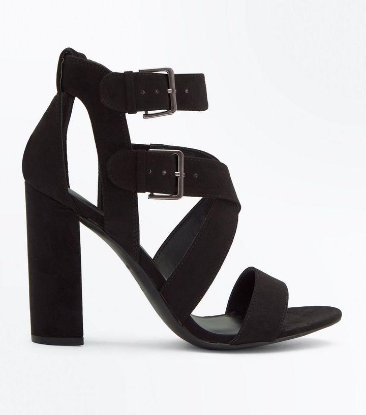 46b548cab4b Black Suedette Block Heel Strappy Sandals