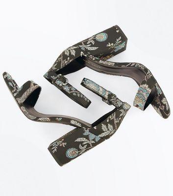 Black Floral Brocade Block Heel Sandals New Look