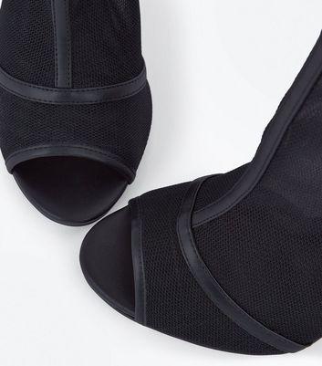 Black Mesh Peep Toe Shoe Boots New Look