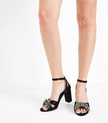 Black Satin Embellished Bow Block Heel Sandals New Look