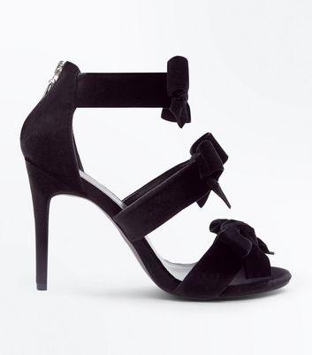 Black Velvet Bow Front Stiletto Sandals New Look