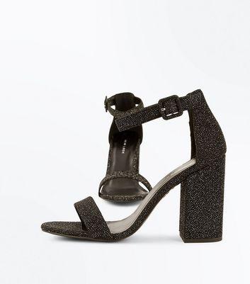 Black Glitter Block Heel Sandals New Look
