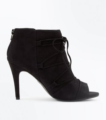 Black Comfort Flex Suedette Lace Up Peep Toes New Look