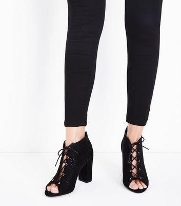 Black Comfort Flex Suedette Cut Out Heels New Look