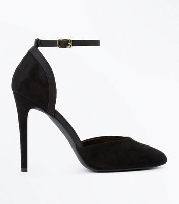 Black Suedette Mary Jane Heels New Look