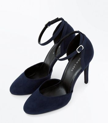 Navy Blue Suedette Mary Jane Heels New Look