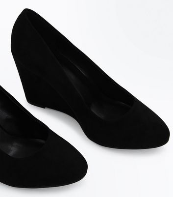 Black Suedette Round Toe Wedges New Look