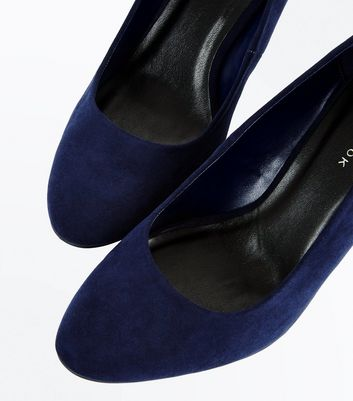Navy Suedette Round Toe Wedges New Look