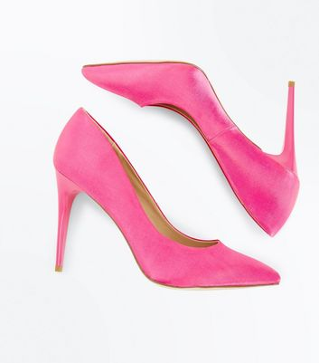 Pink Satin Pointed Court Shoes New Look
