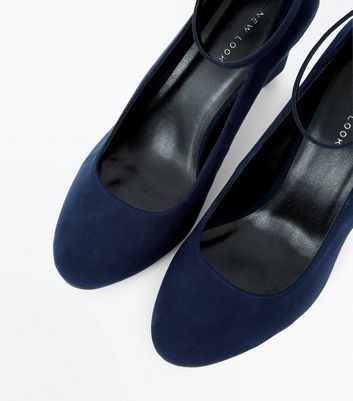 Navy Suedette Ankle Strap Court Shoes New Look