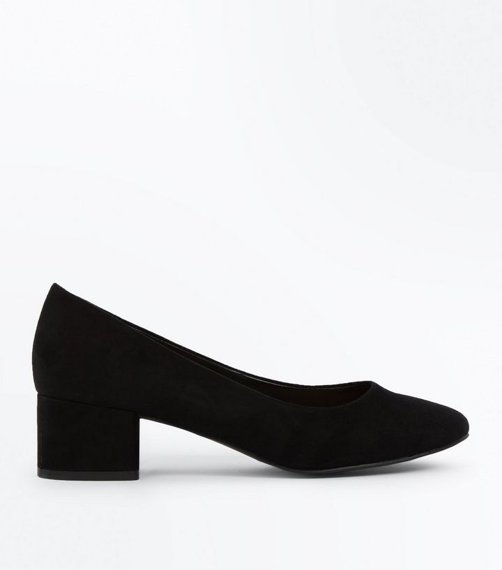 3f4711998f2 Black Suedette Low Block Heel Court Shoes Add to Saved Items Remove from  Saved Items