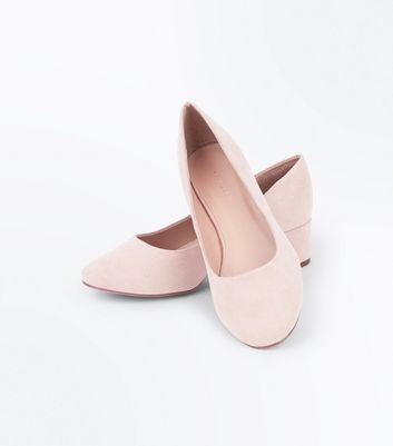 Nude Suedette Low Block Heel Court Shoes New Look