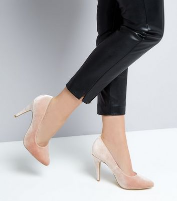 Nude Velvet Cone Heel Court Shoes New Look