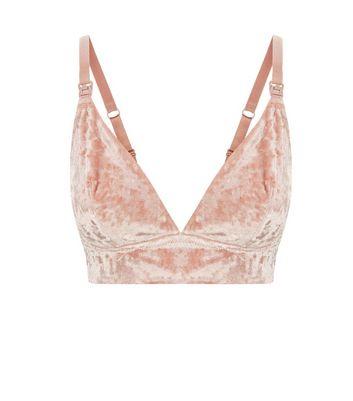 Maternity Pink Velvet Longline Bralet New Look