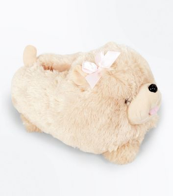 Light Brown Fluffy Dog Slippers New Look