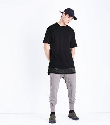Black Mesh Hem T-Shirt New Look