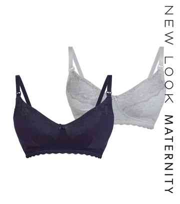 Maternity 2 Pack Navy Lace Trim Nursing Bras