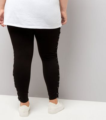 Curves Black Lace Up Side Leggings New Look
