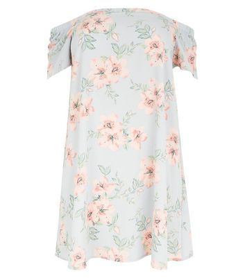 Curves Pink Floral Print Bardot Neck Dress New Look