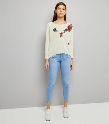 Mela Cream Floral Embroidered Split Back Hem Jumper New Look