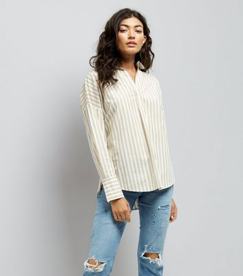 Yellow Stripe Lace Up Back Shirt New Look