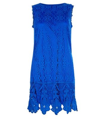 Mela Blue Lace Embroidered Sleeveless Dress New Look
