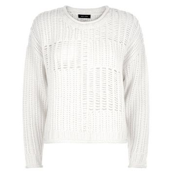 Cream Grid Knit Jumper New Look