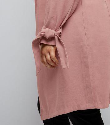 Curves Pink Tie Sleeve Duster Jacket New Look