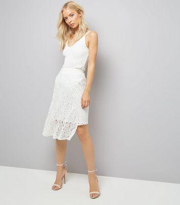 Cream Lace Asymmetric Hem Midi Skirt New Look