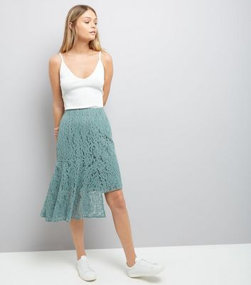 Green Lace Asymmetric Hem Midi Skirt New Look