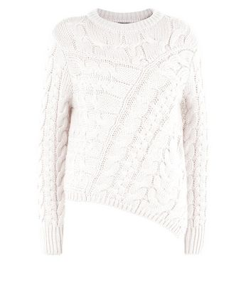 Cream Cable Knit Asymmetric Jumper New Look