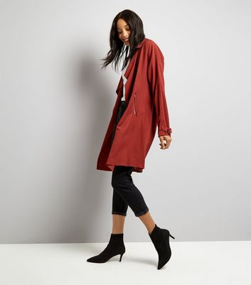 Tall Burgundy Duster Coat New Look