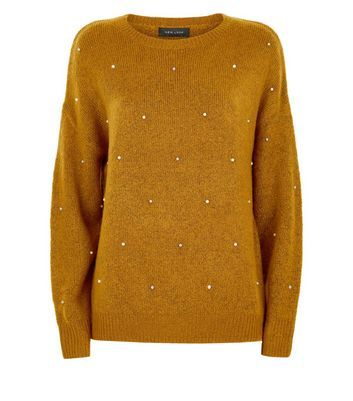 Mustard Yellow Pearl Embellished Jumper New Look