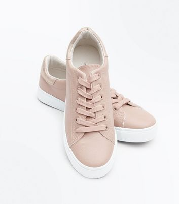 Pink Metallic Panel Lace Up Trainers New Look