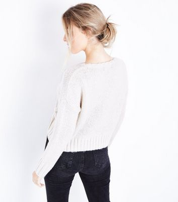 Cream Threaded Lace Up Jumper New Look