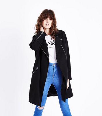 Black Wool Longline Biker Jacket New Look