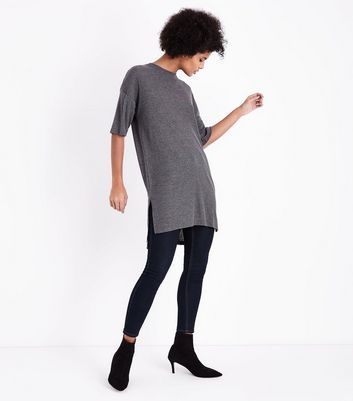 Dark Grey Side Split Longline T-Shirt New Look