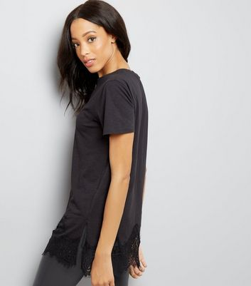Black Lace Hem Oversized T-Shirt New Look