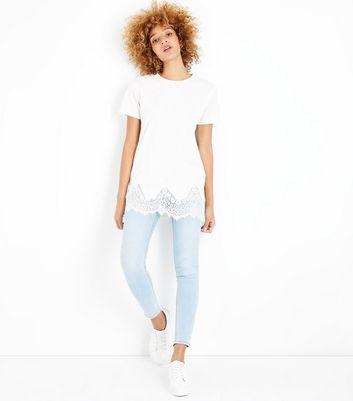 White Lace Hem Oversized T-Shirt New Look