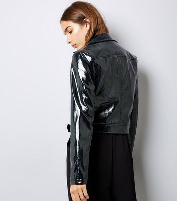 Black Patent Leather-Look Biker Jacket New Look