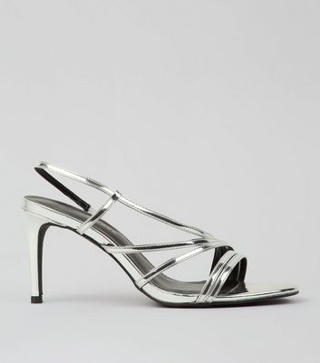 Wide Fit Silver Metallic Strappy Heeled Sandals New Look