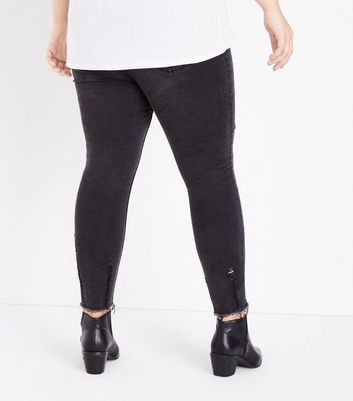 Curves Black Washed High Waist Button Front Skinny Jeans New Look