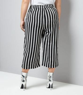 Black Stripe Cropped Trousers New Look
