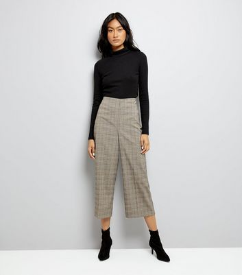 Brown Check Cropped Trousers New Look