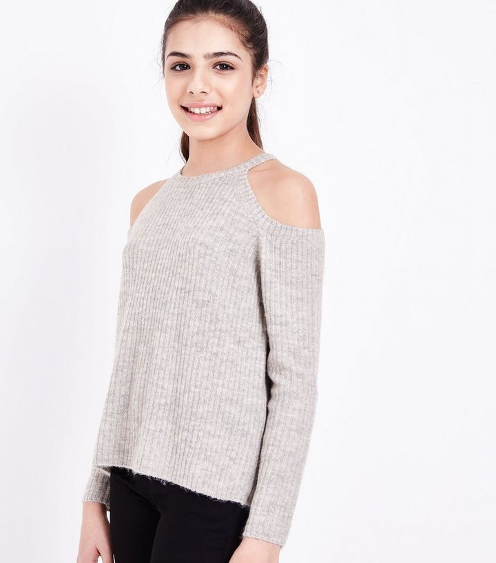 0b07c5a5b4cee Teens Grey Fluffy Ribbed Cold Shoulder Jumper