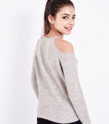 Teens Grey Fluffy Ribbed Cold Shoulder Jumper New Look