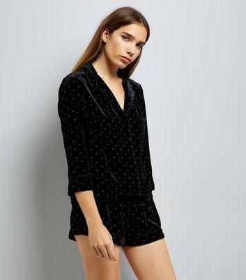 Black Velvet Studded Pyjama Top New Look