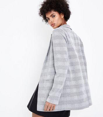 Light Grey Check Blazer New Look