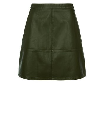 Green Leather-Look Mini Skirt New Look